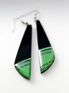 vinyl record earrings. recycled jewelry. black and green earrings. long earrings. colorful earrings. one of a kind jewelry.