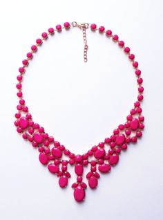 Hot pink necklace bib necklace statement necklace by BelleNoirShop, $21.00
