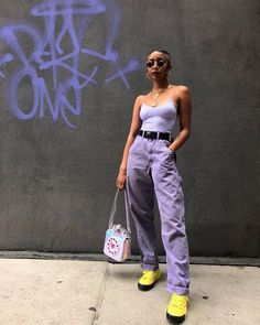 Purple Outfits, Retro Outfits, Trendy Outfits, Vintage Outfits, Girl Outfits, Purple Pants Outfit, Cargo Pants Outfit, Purple Skirt, Green Pants