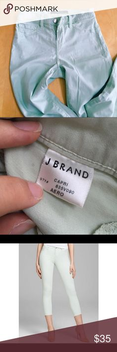 JBrand Mid Rise Mint Capri EUC! Ive only worn this twice, because I don't like the way it looks on me, but it's a gorgeous pair of pants! They're capris, so on someone short like me they fit perfectly! They're priced accordingly for the name tag on the inside. Lmk if you have any questions!! J Brand Jeans Ankle & Cropped