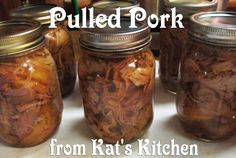 For a 6 to 7 pound roast you should cook it for about 8 to 10 hours. I did these in my roaster and saved the broth to can also. Canning Soup Recipes, Canning Tips, Canned Meat, Canned Food Storage, Canning Food Preservation, Preserving Food, Pressure Canning Meat, Pork Meat, Meals In A Jar