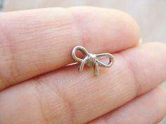 Tiny Bow Cartilage Earring Stud Post Jewelry Helix 16g 16 G Gauge Bar Barbell on Etsy, $14.00