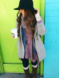 bundled up on Free People. Great layering. I wouldn't think of putting a denim jacket under a wool sweater/coat. I love the knit wrist warmers.