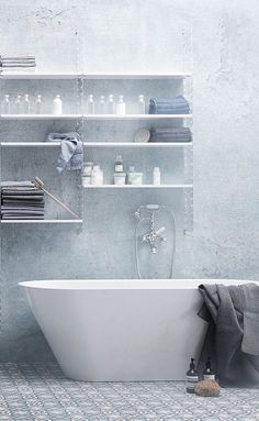 50 Amazing Scandinavian Bathroom Designs : 50 Amazing Scandinavian Bathroom Designs With Natural Stone Wall And White Bathtub And Wooden Cab...