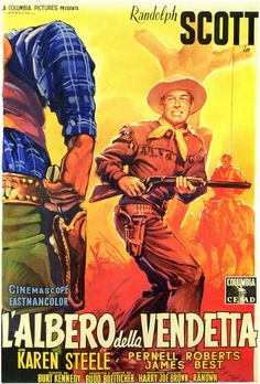 RIDE LONESOME (1959) - Randolph Scott - Karen Steele - Pernell Roberts - James Best - Written by Burt Kennedy - Produced & Directed by Budd Boetticher - Columbia Pictures - Italian Movie Poster.