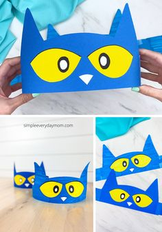 This easy Pete the Cat headband is a fun and simple children's book craft. It's great for toddlers, preschoolers and kindergarten children. Download our free printable template and make today.   #simpleeverydaymom #petethecat #headbandcrafts #kidscrafts #craftsforkids #kidsactivities Cat Headband, Headband Crafts, Indoor Activities, Activities For Kids, Book Crafts, Crafts For Kids, Toddler Schedule, Preschool At Home, Crafty Kids