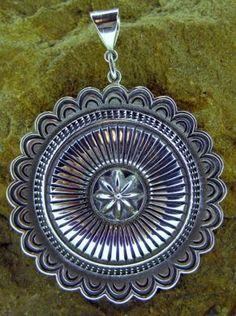Ron Bedonie Sterling Silver Round Pendant.   #nativeamericanjewelry     http://www.leotasindianart.com/