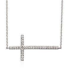 Ross-Simons - .20 ct. t.w. Diamond Sideways Cross Necklace in 14kt White Gold