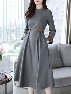 Dresses That Hide Belly Bulge - Plaid Band Collar Pocket Maxi Dress Elegant Dresses, Sexy Dresses, Cute Dresses, Fashion Dresses, Evening Dresses, Formal Dresses, Awesome Dresses, Wrap Dresses, Wedding Dresses