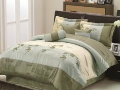 """Chezmoi Collection 7 Pieces Aqua Beige Sage Green Embroidered Floral Comforter 90""""x92"""" Bed-in-a-bag Set Queen Size Bedding by Chezmoi Collection. $64.99. 7pcs Bedding Ensembles. (Comforter, 2 Shams, 2Cushion, 1 Neck roll, and Bed Skirt). Care Instruction: Machine Washable.. Fabric Content: 100 % Polyester.. 1Pc Breakfast Pillow 12""""x 18"""". 1Pc Square Pillow 18"""" x 18"""". 1Pc Neck roll Pillow 8"""" x 18"""". 1Pc Comforter 90"""" x 92"""". 1pc Bed Skirt 60"""" x 80"""" + 14"""". 2Pc Shams 20"""" x..."""