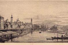 Así era el puerto fluvial de Zaragoza, un aguafuerte de Henry Charles Landrin y unos dibujos de Raael Monleón, subrayan la importancia que tuvo el Ebro en el comercio del siglo XIX. En la foto dibujo titulado 'Barcas a la orilla del río', de Rafael Monleón.