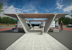 """JL """"Medium"""" module used for bus stop + bike share, with dedicated cycle lane"""