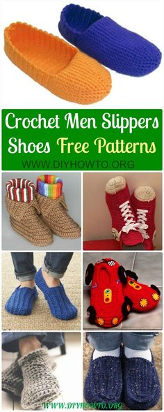 Crochet House Slippers Shoes, Loafers, Racing Car Slippers, Mocassin for Guys, Boys or Men with Easy Free Patterns via @diyhowto #Crochet