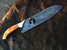 HANDMADE DAMASCUS steel (fancy) CHEF KNIFE with DEER WIRE CUT ON BLADE ( 4mm ) #HANDMADE