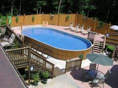 Wood paneled on ground pool