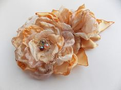 Clip-Brooch Fabric Flower Wedding Flowers Fabric by philadella