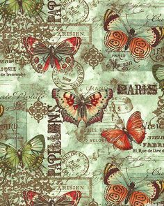 This listing is for a full or half yard of a beautiful nostalgic vintage butterfly fabric from Benartex. Parchment-like background in teal with a postcard undertone. Decoupage Vintage, Vintage Diy, Vintage Labels, Vintage Ephemera, Vintage Cards, Vintage Paper, Vintage Postcards, Watercolor Card, Paper Art