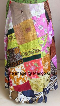 Mid-Calf Vintage Silk Sari Patchwork Magic wrap skirts dress beach wear #Unbranded #PatchworkSkirt
