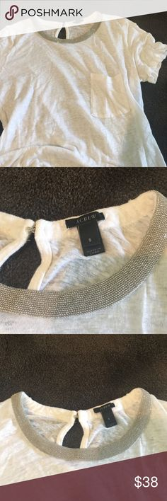 J. Crew linen necklace tee.  In perfect condition White pocket tee with silver metal collar. J. Crew Tops Tees - Short Sleeve