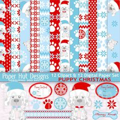 Christmas Digital Papers-Christmas Clipart & by PaperHutDesigns