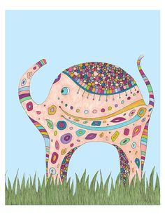Elephant Walk Children's Art Print, baby gift, toddler gift