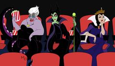 The Disney Villainesses themselves enjoying the darkest fairy's newest movie. While Ursula sit happily enjoying the film, Maleficent cockily enjoys her . Girls Night Out Evil Disney, Disney Art, Disney Pixar, Disney Dream, Disney Style, Disney Villains, Disney Characters, The Great Mouse Detective, Cute Disney Pictures