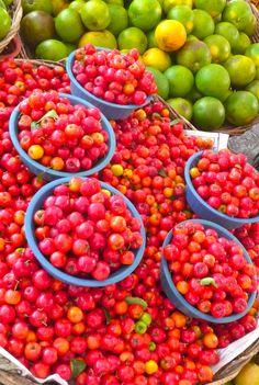 "Aracaju, Brazil market trip. Bowls of ""Pitanga cherries"". Photo by Dan Trepanier"