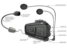 Cardo Scala Headset Hands Free Bluetooth-Enabled