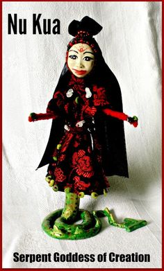 Nu Kua Spirit Doll - Nu Kua is the Chinese Serpent Goddess of Creation. Long before humans were here, she saw the chaos in the world and didn't like it. So she went about bringing  order. When order was returned, she made humans out of clay.