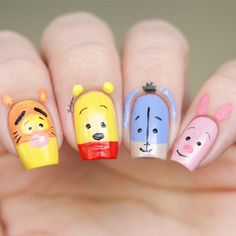 Acrylic nail art 187321665738462293 - Day Inspired by a book📖 Winnie the Pooh nails inspired by a picture I saw on We Heart It ❤️️ Source by britannyros Nail Art Disney, Disney Acrylic Nails, Cute Acrylic Nails, Cute Nail Art, Cute Nails, Pretty Nails, Disney Princess Nails, Nail Art Designs, Disney Nail Designs