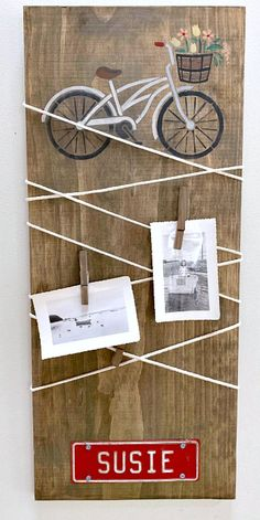 Bicycle stenciled cord wrapped message center DIY. Homeroad.net #stenciling #diycrafts #craftfromhome #stencils #bicycle #craftingfromhome #craftathome #stayhome