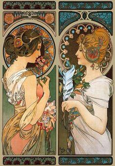 New art nouveau tattoo mucha illustrations Ideas Art Nouveau Tattoo, Art Nouveau Mucha, Alphonse Mucha Art, Tattoo Art, Art Nouveau Poster, Collage, Art Nouveau Illustration, Jugendstil Design, Feather Art