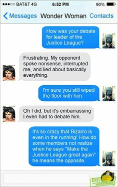 Text from Superheroes gets political