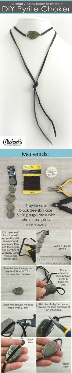 Combine leather lacing and pyrite to make this casual boho DIY choker