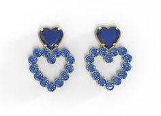 BR354822 Brinco Folheado Pedra Lapidada Coração Azul