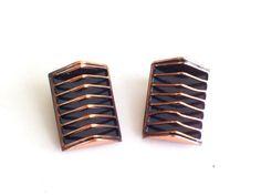 Renoir Earrings, Vintage RENOIR Copper SHADOWS Clip Earrings, Modernist Copper Earrings, Modernist Geometric Jewelry, Renoir Jewellery