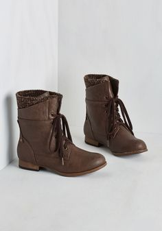 Dancing on Layer Boot. If youre happy and you know it, bust a move in these brown layered boots! #brown #modcloth