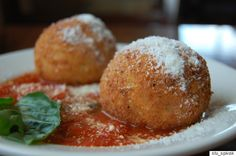 17 Italian Street Foods You Need In Your Life  Origin: Sicily  Deep-frying anything practically guarantees deliciousness, and these rice balls only prove the point. Imagine crisped risotto stuffed with gooey cheese, peas and minced meats, and you'll have an inkling of just how incredible this street food really is. We see you, Sicily.
