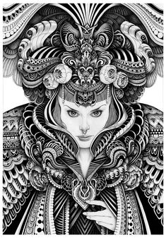 Pencil Watercolours and Pens in Complex Ink Portraits. By Iain Macarthur. Dark Drawings, Pencil Art Drawings, Art Sketches, Doodle Art Drawing, Zentangle Drawings, Zentangles, Zentangle Patterns, Tattoo Drawings, Tattoos
