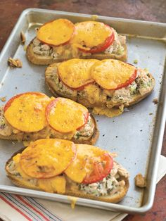 Tuna Melts   the tuna melt takes humble ingredients and transforms them into a special treat. You will need to outfit everyone at the table with a knife and fork to eat this open-faced classic of zesty tuna salad and gooey melted cheese.