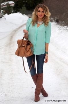 I would totally wear this... Mint top with brown boots and bag