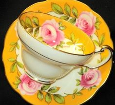 EB Foley Rambler Rose Signed Tea Cup and Saucer Teacup