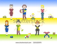 Set of characters pixel people Mothers and cute Babies. Different pixel characters, women and children with their toys, isolated on light background for games or cross-stitch hand made