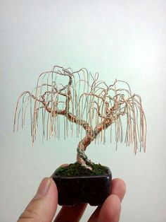 This is a weeping wire bonsai tree done with silver and copper wire. It sits in a Jim Barrett pot. Weeping Willow Wire Bonsai Tree by Ken To Weeping Willow, Willow Tree, Wire Crafts, Metal Crafts, Jewelry Tree, Wire Jewelry, Beading Jewelry, Silver Jewelry, Wire Bracelets