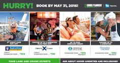 Book at  #Royal #Caribbean: BOGO60 Buy one guest fare, get the second 60% off all sailings on or after June 2, 2016, excluding China departures #Celebrity #Cruises: Go Big, Better, Best Book an #oceanview or higher cabin and receive a choice of one amenity: · Classic #Beverage for (2) · $300 onboard credit · prepaid #gratuities · #unlimited internet Go Better for just $15 more pp/day and receive two amenities Or Go Best for just $45 more pp/day and receive all four…