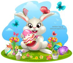 Easter Bunny with Easter eggs cilp art Easter Bunny Cartoon, Easter Bunny Eggs, Cute Easter Bunny, Happy Easter, Bunnies, Easter Illustration, Bunny Images, Bunny Painting, Easter Pictures