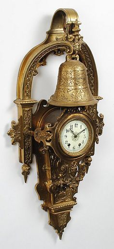 Large Napoleon III Gilt Bronze Cartel Clock | From a unique collection of antique and modern clocks at https://www.1stdibs.com/furniture/decorative-objects/clocks/