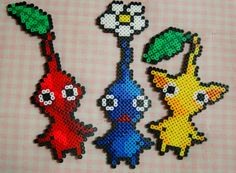Red Yellow and Blue Pikmin Perler Bead by SuperOnigiriDesigns