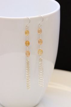 AA Imperial Topaz Tassel Earrings, Argentium Sterling Silver, Oval Faceted, November Birthstone, Gemstone, Wire Wrapped, by Princess Ting Ting Jewelry at Etsy