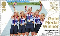 Paralympics Gold Medal Winner stamp - Rowing: Mixed Coxed Four, LTAMix4+, Pam Relph, Naomi Riches, David Smith, James Roe and Lily van den Broecke.